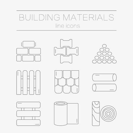 building materials: Set of line icons for DIY, construction, building materials. Illustration