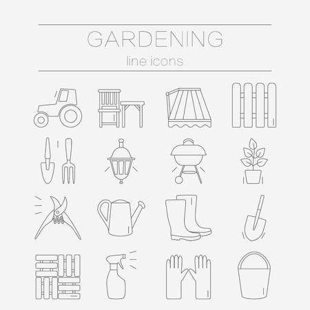 pot holder: Set of vector flat design icons for gardening and garden tools. Modern and easy editable thin line icons isolated on background.