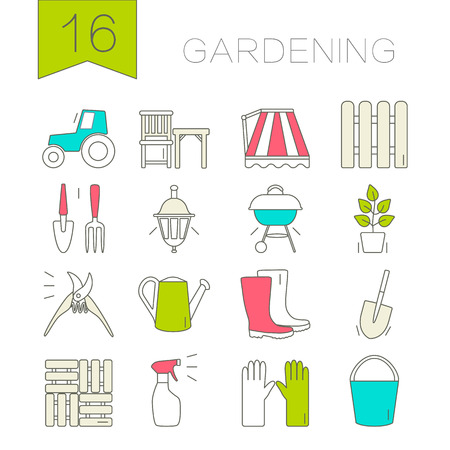 Iconos de jardiner�a. conjunto �nico y moderno aislado en el fondo. Ilustraci�n del vector. Vectores