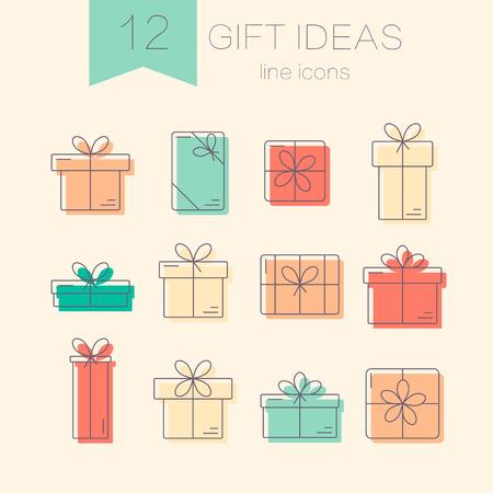 Conjunto de vector de l�nea delgada iconos de colores de cajas de regalo. Concepto para la envoltura de regalos, tarjetas, celebraciones logotipo.
