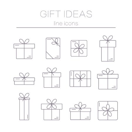 line vector: Set of vector  thin line icons of gift boxes isolated on white background. Concept for gift wrapping, cards, celebrations logo. Illustration