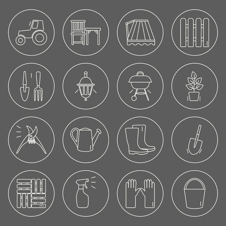 furnace: Gardening icons. Unique and modern set isolated on background. Vector illustration.