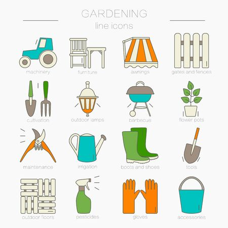 pot holder: Gardening icons. Unique and modern set isolated on background. Vector illustration.