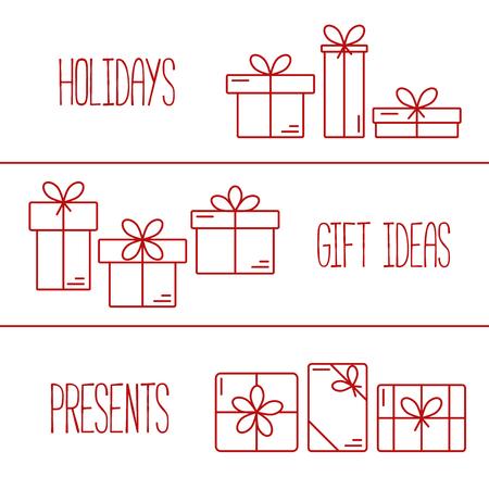 Conjunto de banderas del vector con iconos de l�neas delgadas de cajas de regalo. Concepto para la envoltura de regalos, tarjetas, celebraciones logotipo. Vectores