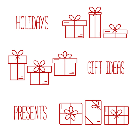 shopping icons: Set of vector banners with thin line icons of gift boxes. Concept for gift wrapping, cards, celebrations logo. Illustration
