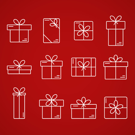Set of vector  thin line icons of gift boxes isolated on background. Concept for gift wrapping, cards, celebrations Illustration