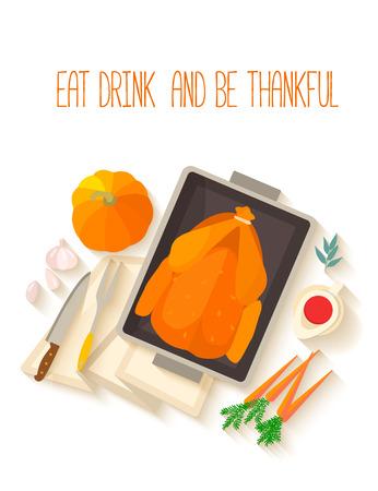 flaches design einladungskarte für thanksgiving-dinner. typische, Kreative einladungen