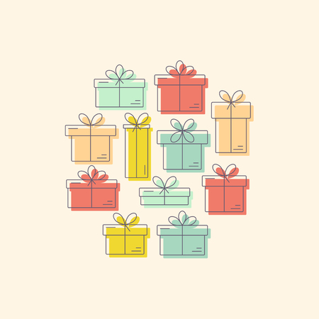 Vector line style logo with gift boxes with a bow organized in a circle. Easy to use business template.  Isolated on white background and easy to use.