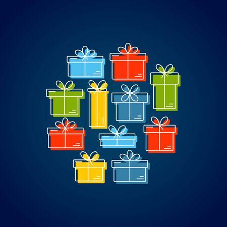 Bir daire içinde düzenlenen bir yay ile hediye kutuları ile vektör kartı. Iş şablonu kullanımı kolay. Beyaz zemin ve kullanımı kolay izole.