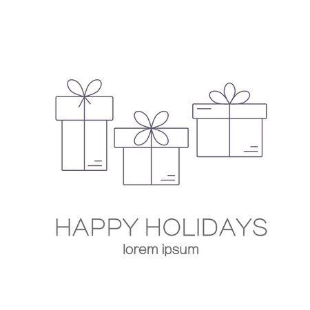 vector line style logo with gift boxes with a bow easy to use