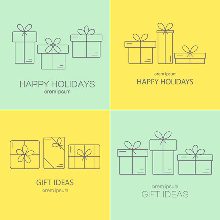 boxing day sale: Set of vector banners with thin line icons of gift boxes. Concept for gift wrapping, cards, celebrations logo. Illustration