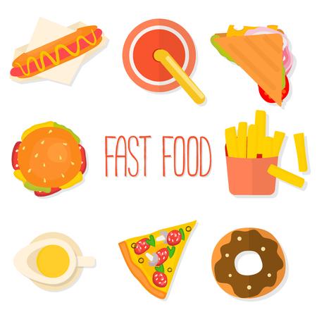 camote: Conjunto de diseño plana iconos de comida rápida aislados en el fondo blanco. Ilustración del vector.