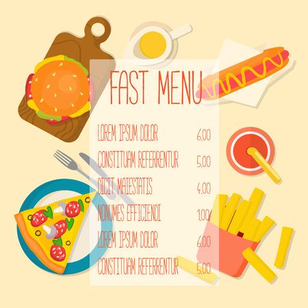 Fast food menu template. Flat design vector illustration.