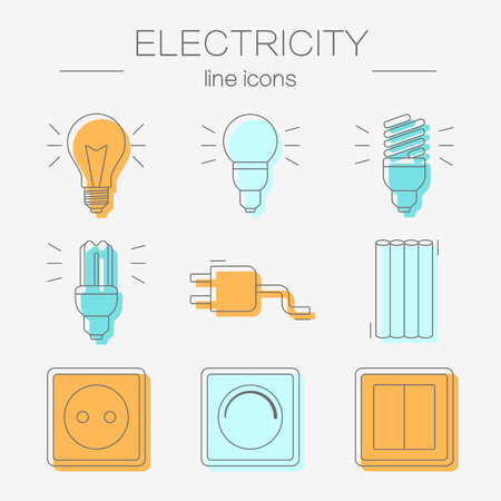 thin bulb: Vector set of electricity icons, including tools. Modern line style labels of electricity tools elements.