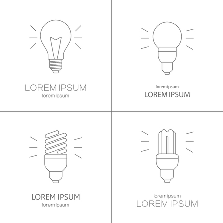 Modern line style vector logo collection with light bulbs isolated on white. Logotype company or shop. Illustration