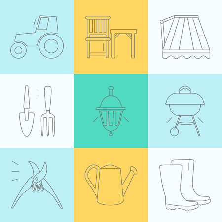 modern garden: Set of vector flat design icons for gardening and garden tools. Modern and easy editable thin line icons isolated on background.