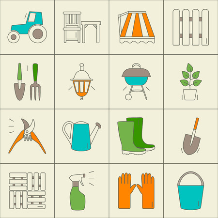 Gardening icons. Unique and modern set isolated on background. Vector illustration.