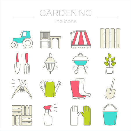 tools icon: Gardening icons. Unique and modern set isolated on background. Vector illustration.