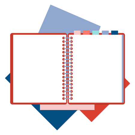 moleskin: Flat design notepad on a spring with tabs and color sheets of paper isolated on white background with place for text. Illustration