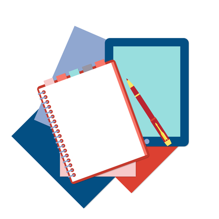 moleskin: Flat design notepad with tabs, pen, tablet and color sheets of paper isolated on white background with place for text.