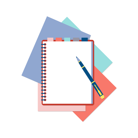 moleskin: Flat design notepad with tabs, pen and color sheets of paper isolated on white background with place for text.
