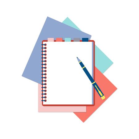 Platte ontwerp notitieblok met tabs, pen en kleur vellen papier op een witte achtergrond met plaats voor tekst. Stock Illustratie