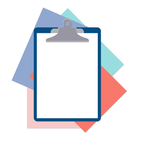 sheet of paper: Flat clipboard with paper sheets on desk. Vector illustration. Flat mockups for website design, infographics, web and mobile services and apps.