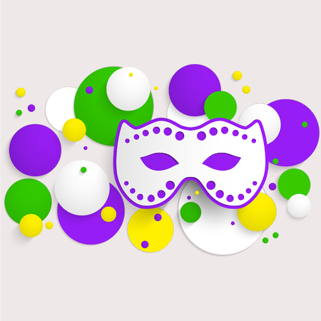 Abstract  horizontal background with Mardi Gras party poster design. Template of invitation, flyer, poster or greeting card. Carnival mask with beads. Vector illustration.