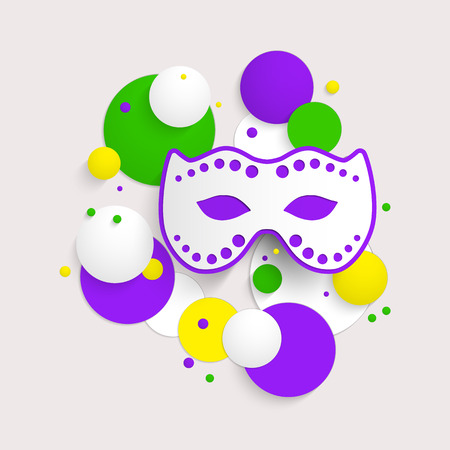 parade confetti: Abstract background with Mardi Gras party poster design. Template of invitation, flyer, poster or greeting card. Carnival mask with beads. Vector illustration.