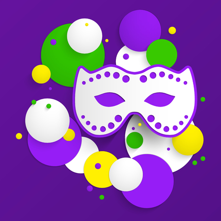 parades: Abstract background with Mardi Gras party poster design. Template of invitation, flyer, poster or greeting card. Carnival mask with beads. Vector illustration.