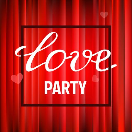 postcard background: Vector red glossy background for Valentines party poster design. Template of invitation, flyer, poster or greeting card. Love handwritten text. Illustration