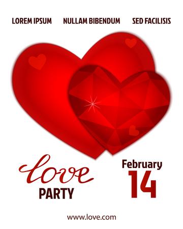 coeur diamant: Valentines conception de l'affiche du parti. Modèle d'invitation, flyer, affiche ou carte de voeux. Amour texte manuscrit rouge crystall fond. Vector illustration.