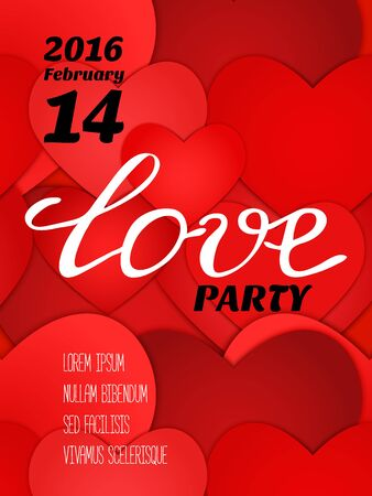 Valentines party poster design. Template of invitation, flyer, poster or greeting card. Love handwritten text on red paper hearts background. Vector illustration.
