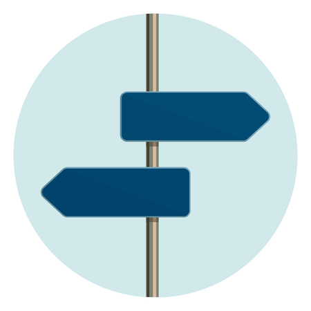 Flat design round icon of directional arrow road sign. Metaphor for a flexible customer service. Vector illustration. Illustration