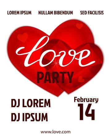 party design: Valentines party poster design.  Illustration