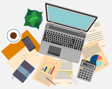 Vista superior de lugar de trabajo con documentos y un ordenador port�til.