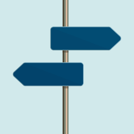 directional sign: Flat design icon of directional arrow road sign. Metaphor for a flexible customer service. Vector illustration. Illustration