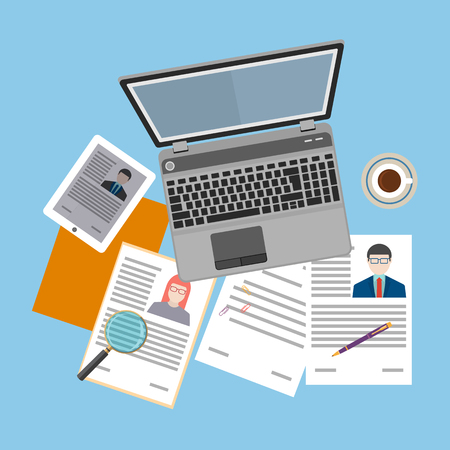 Top view of workplace with documents and laptop. Concepts for searching professional staff, analyzing resume, recruitment, human resources management, work of hr. Vector illustration. Illusztráció