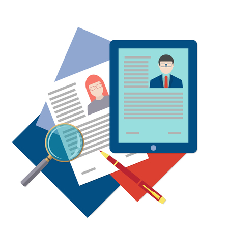 job hunting: Flat design icon of searching professional staff, analyzing resume, recruitment, human resources management, work of hr. Vector illustration. Head hunting concept.