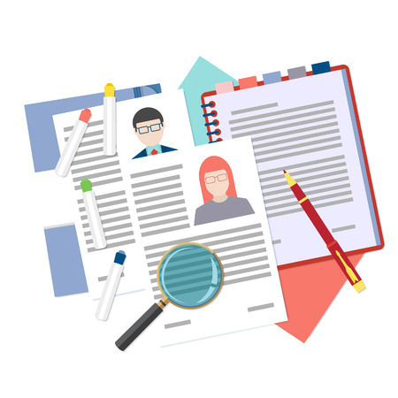 analyzing: Flat design icon of searching professional staff, analyzing resume, recruitment, human resources management, work of hr. Vector illustration. Head hunting concept.