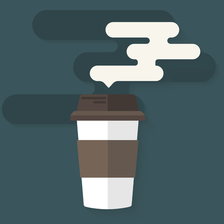 takeout: Flat design icon of coffee cup with steam. Concept logo for takeaway or coffe to go shop. Vector illustration.