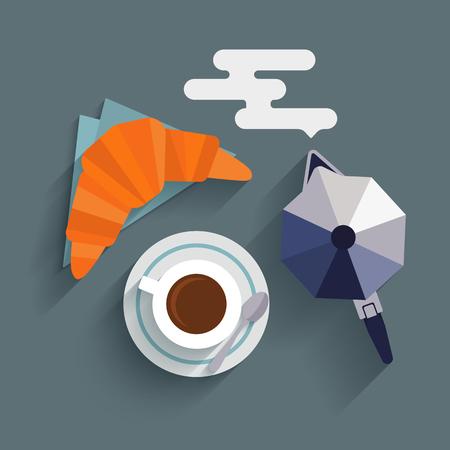 Dise�o plano con largas sombras desayuno italiano con una taza de caf�, croissant y cafetera. Concepto para caf�s y bares de men�. Ilustraci�n del vector.