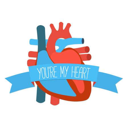 human heart: Idea de la tarjeta de regalo de San Valentín. icono de diseño plano del corazón humano con la cinta y el saludo. Ilustración del vector.