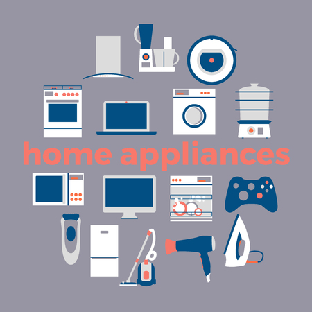home appliances: Home electronics appliances circle. Flat design set modern vector icons of home appliances and other house equipment. Illustration