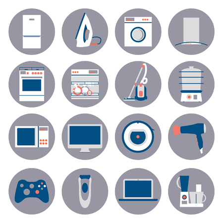 home equipment: Big collection of home appliances. Flat design set modern vector icons of home appliances isolated on white background. Dishwasher, washing mashing, aircon and other house equipment.