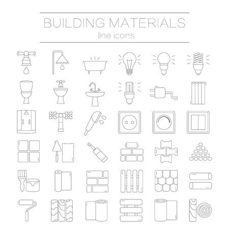 Gran conjunto de iconos de l�nea fina materiales de construcci�n modernos. Pictogramas para los materiales de la tienda, construcci�n y edificaci�n de bricolaje. Ilustraci�n del vector.