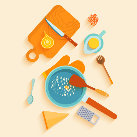 lay: Flat lay design card with recipe of saffron risotto. Traditional italian cuisine recipe with ingredients, space for text. Vector illustration.