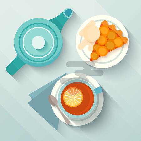 eanglish desayuno con una taza de t�, pastel de appricot y la tetera. Concepto para caf�s y bares de men�. dise�o aplanada con largas sombras. Ilustraci�n del vector. Vectores