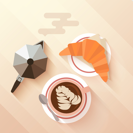 capuchino: desayuno italiano con una taza de capuchino, cruasán y cafetera. Concepto para cafés y bares de menú. diseño aplanada con largas sombras. Ilustración del vector.