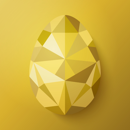 Flat design polygon of gold egg isolated on golden background. Vector illustration. Happy Easter card in hipster low poly triangle style. Perfect for greeting card or elegant party invitation.